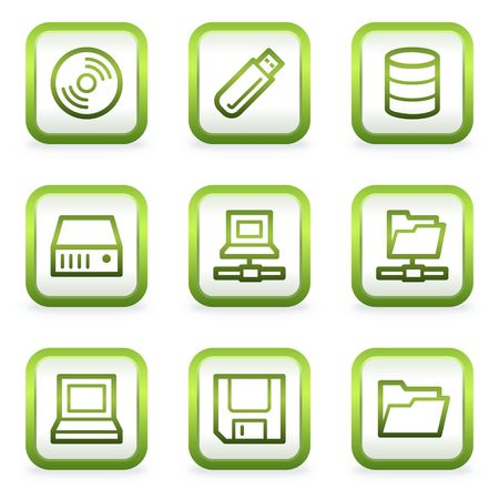fdd: Drives and storage web icons, square buttons, green contour Illustration