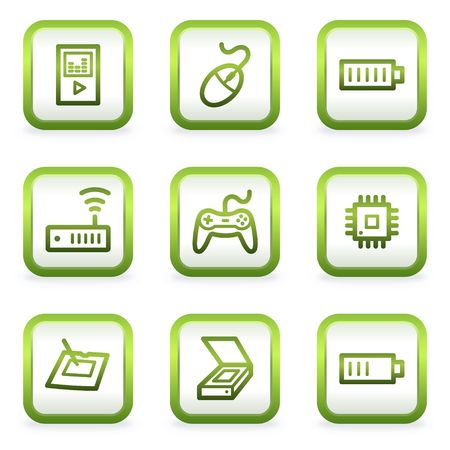 Electronics web icons set 2, square buttons, green contour Stock Vector - 6622407