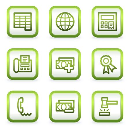 ebay: Finance web icons set 2, square buttons, green contour Illustration