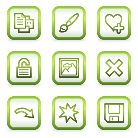 and viewer: Image viewer web icons set 2, square buttons, green contour Illustration