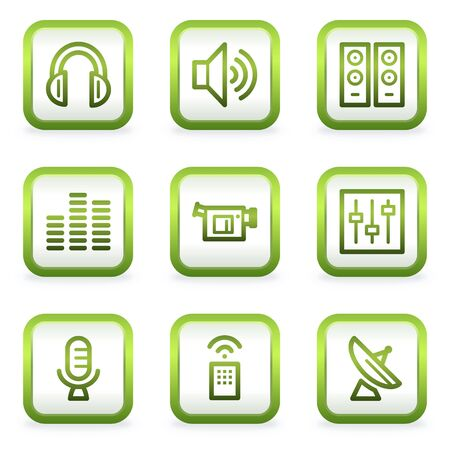 Media web icons, square buttons, green contour Stock Vector - 6622394