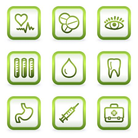 computer health: Medicine web icons set 1, square buttons, green contour