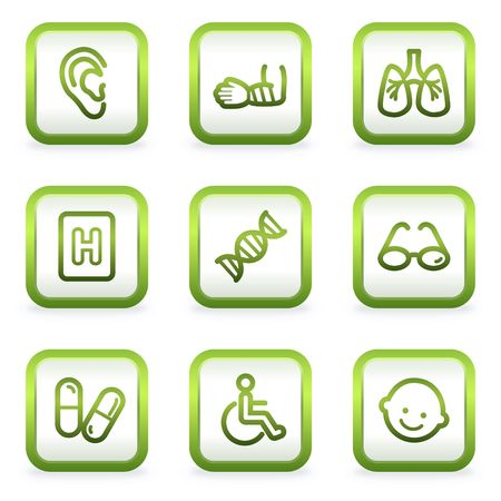 traumatic: Medicine web icons set 2, square buttons, green contour