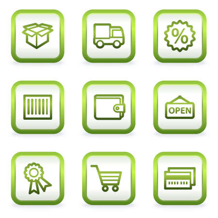 billfold: Shopping web icons set 2, square buttons, green contour