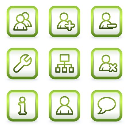 Users web icons, square buttons, green contour Stock Vector - 6622379