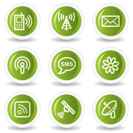 Communication web icons, green circle buttons Stock Vector - 6685559
