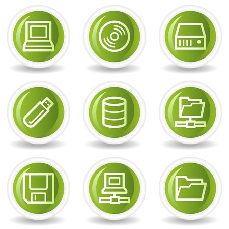 fdd: Drives and storage web icons, green circle buttons Illustration