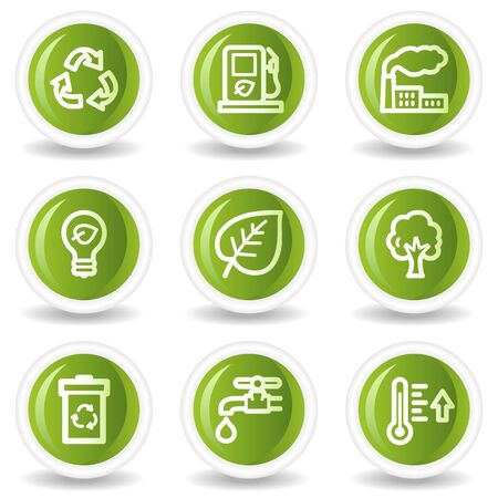 Ecology web icons set 1, green circle buttons Stock Vector - 6685568