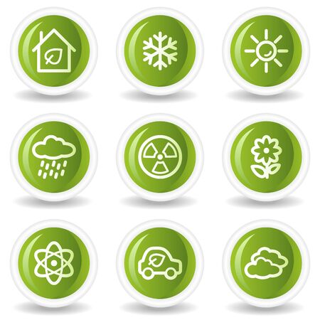 Ecology web icons set 2, green circle buttons Vector