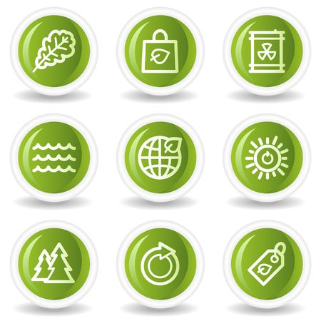 Ecology web icons set 3, green circle buttons Vector