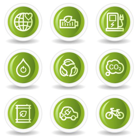 electro world: Ecology web icons set 4, green circle buttons