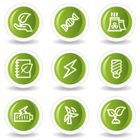 Ecology web icons set 5, green circle buttons Vector