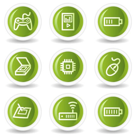 Electronics web icons set 2, green circle buttons Stock Vector - 6685551