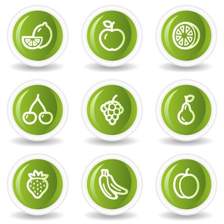 Fruits web icons, green circle buttons Vector