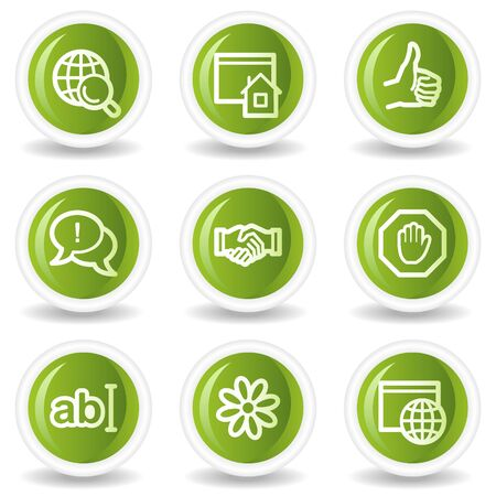 Internet web icons set 1, green circle buttons Stock Vector - 6685567