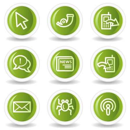 Internet web icons set 2, green circle buttons Vector