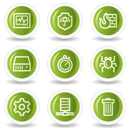 Internet security web icons set 1, green circle buttons Vector