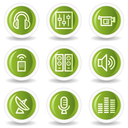 Media web icons, green circle buttons Stock Vector - 6685541