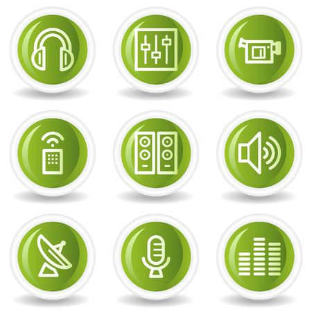 Media web icons, green circle buttons Stock Vector - 6685541