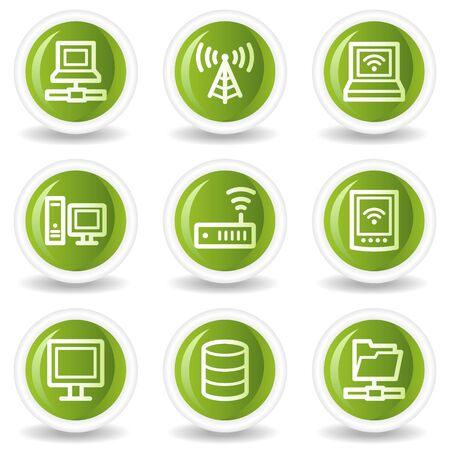 nettop: Network web icons, green circle buttons Illustration
