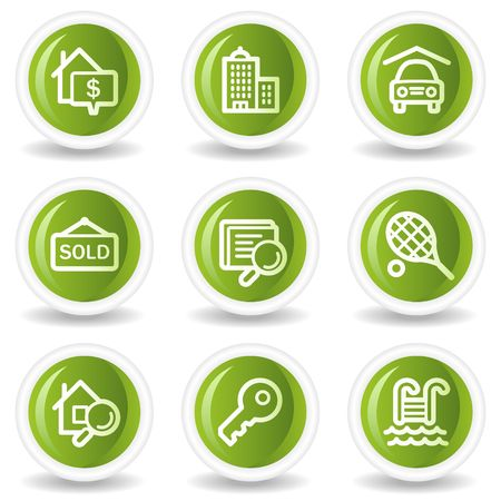 Real estate web icons, green circle buttons Vector