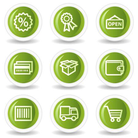 billfold: Shopping web icons set 2, green circle buttons