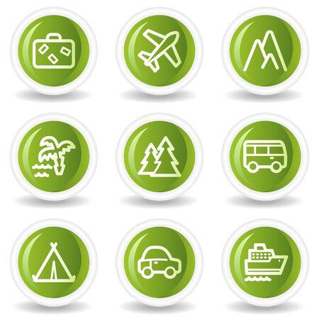 air travel: Set di icone web 1, cerchio verde pulsanti di viaggio Vettoriali