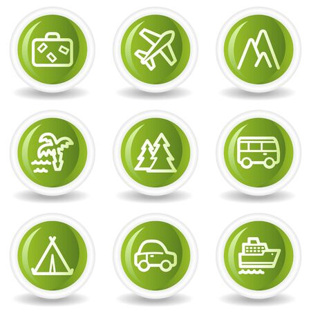 Travel web icons set 1, green circle buttons Vector