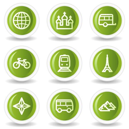 Travel web icons set 2, green circle buttons Stock Vector - 6685529