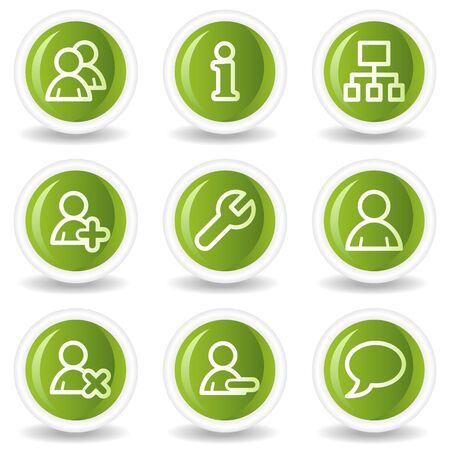 Users web icons, green circle buttons Stock Vector - 6685511