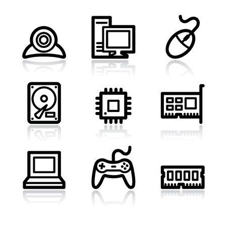 Computer contour arrows web icons V2 Vector