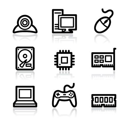 webcamera: Computer contour arrows web icons V2