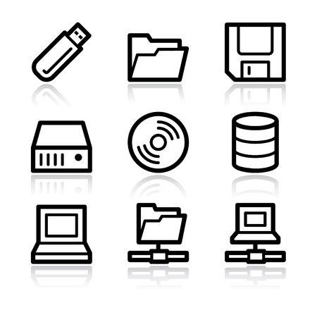 databank: Zwarte contour schijven en opslag web icons V2  Stock Illustratie