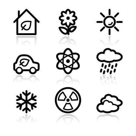 Black contour ecology set 2 web icons V2 Vector