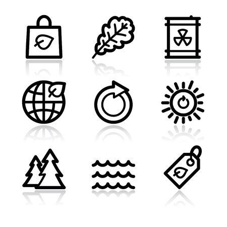 Black contour ecology set 3 web icons V2 Stock Vector - 6717640