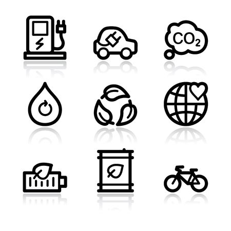 eco car: Ecolog�a de contorno negro conjunto de iconos de web 4 V2