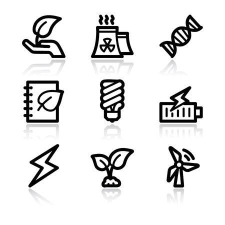 Black contour ecology set 5 web icons V2 Stock Vector - 6717645
