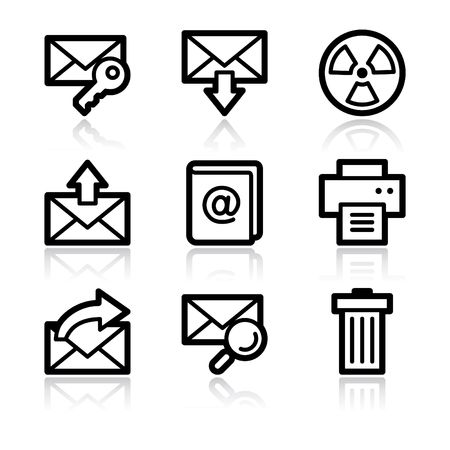 printers: Black contour e-mail set 2 web icons V2