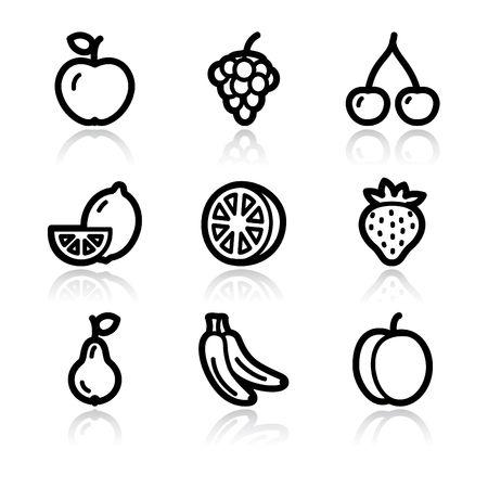 Black contour fruits web icons V2 Vector