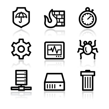 Black contour internet security web icons V2 Vector