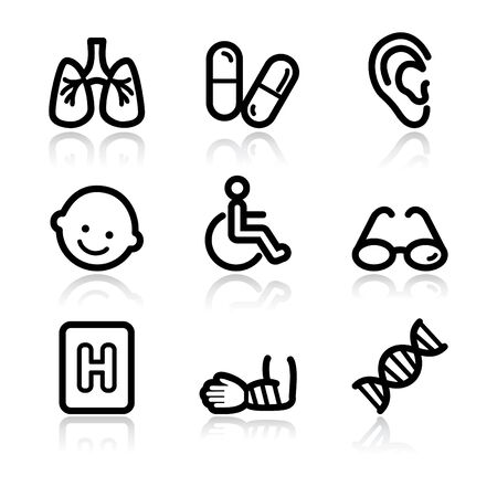 Black contour medicine set 2 web icons V2 Stock Vector - 6717636