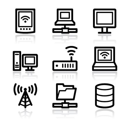 databank: Zwarte contour net werk web icons V2  Stock Illustratie