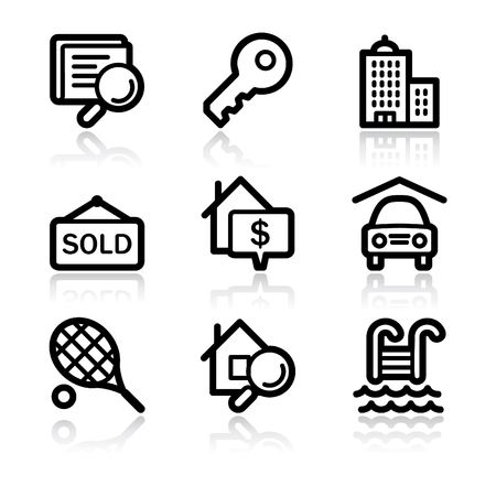 real tennis: Black contour real estate web icons V2 Illustration