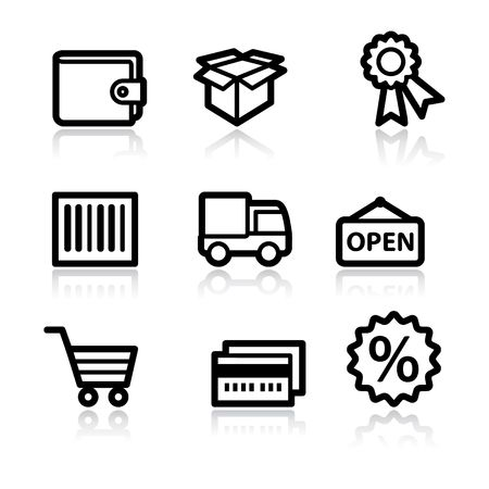 billfold: Black contour shopping set 2 web icons V2