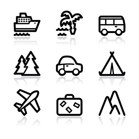 Black contour travel set 1 web icons V2 Vector