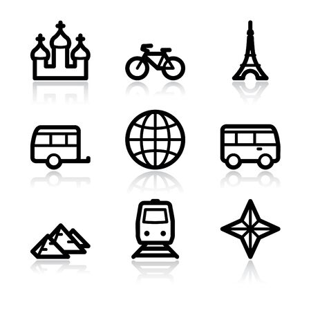 Black contour travel set 2 web icons V2 Vector