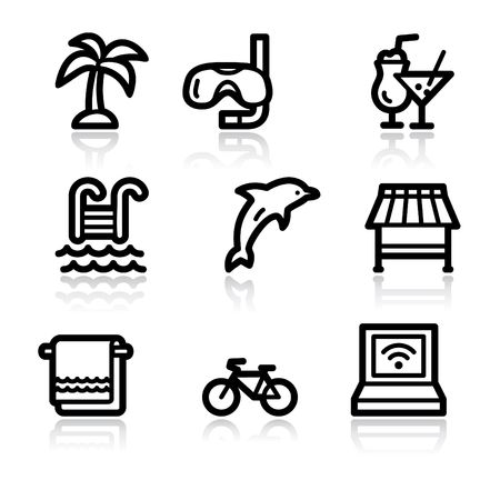 Black contour vacation web icons V2 Vector