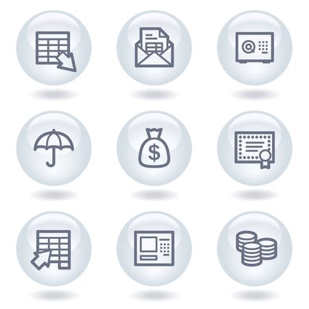 Banking web icons, white circle buttons Vector