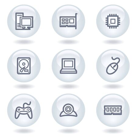Computer web icons, white circle buttons Stock Vector - 6812061