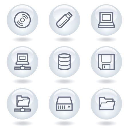 Drives and storage web icons,white circle buttons